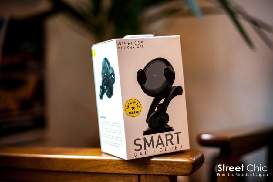 ワイヤレス充電可能なスマホホルダー!!赤外線センサーで自動感知、開いて置くだけ充電!!ダッシュボード、エアコン送風口にも簡単取付
