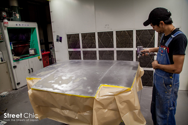 チッピング塗装、チッピングコートに挑戦!!ワイパー、カウルトップ