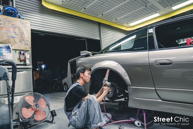 180sxにムチムチタイヤ、フェンダー処理、フェンダリストに向けての作業、埼玉J,beat