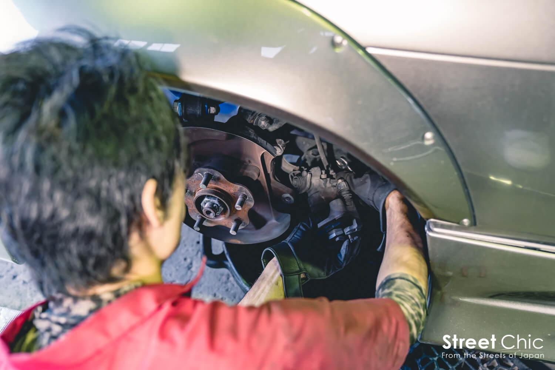 S13ブレーキ流用!!33スカイラインのキャリパー、ビックローターキットをインストール!!gktechブレーキホース